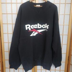 Vintage 90s REEBOK Huge Logo Black Pullover